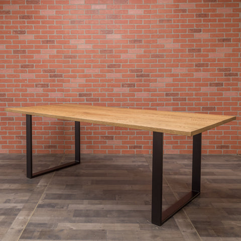 Red Oak Table - Steel Square Base