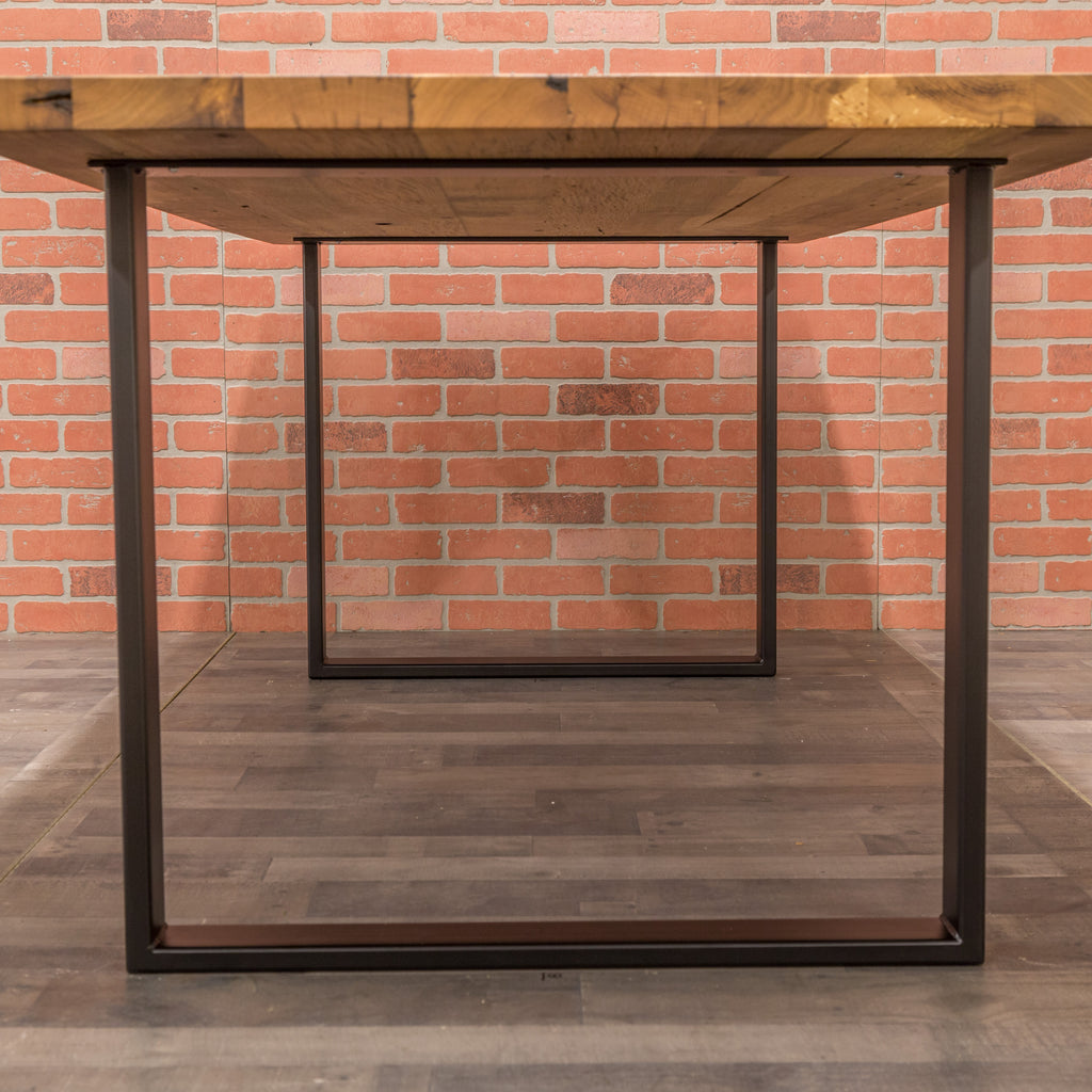 White Oak Table - Steel Square Base