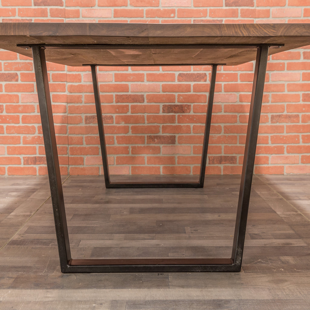 Walnut Table - Steel Trapezoid Base