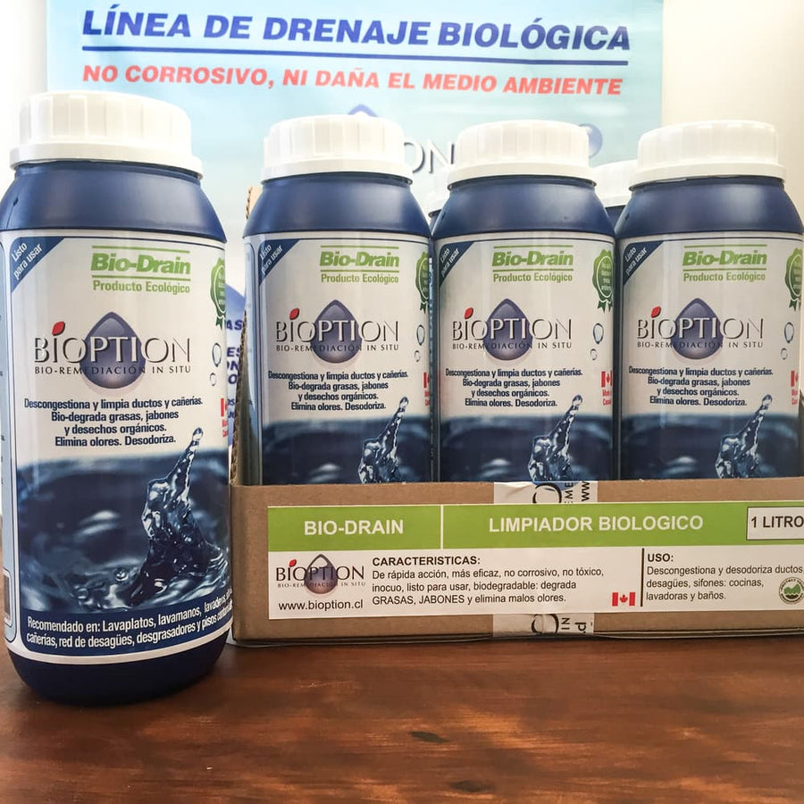 DESCONGESTIONADOR DUCTOS COCINA Y ELIMINACIÓN OLORES BIOPTION. BIODEGRADABLE DE ULTIMA GENERACIÓN 1 LT- CANADIENSE