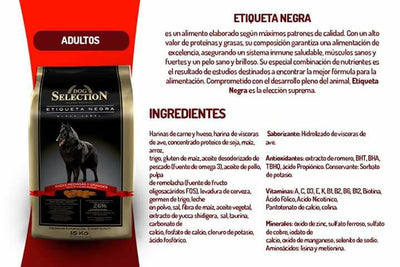 Dog Selection - BLACK LABEL - PERRO ADULTO SUPER PREMIUM. 15+2 kg - 26% de PROTEINAS. -Razas Medianas y Grandes (SOLO CHICUREO, COLINA Y LAMPA)