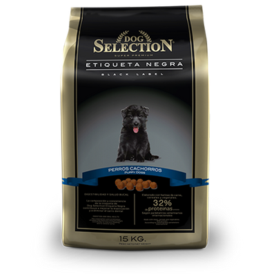 DOG SELECTION - BLACK LABEL - SUPER PREMIUM PERRO CACHORRO - 32% DE PROTEINAS - PROMOCIÓN  15 + 2 KG.  (SOLO CHICUREO, COLINA Y LAMPA)