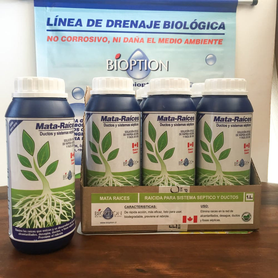 MATA RAICES FOSAS SÉPTICAS BIODEGRADABLE DE ULTIMA GENERACIÓN 1 LT- BIOPTION - CANADIENSE