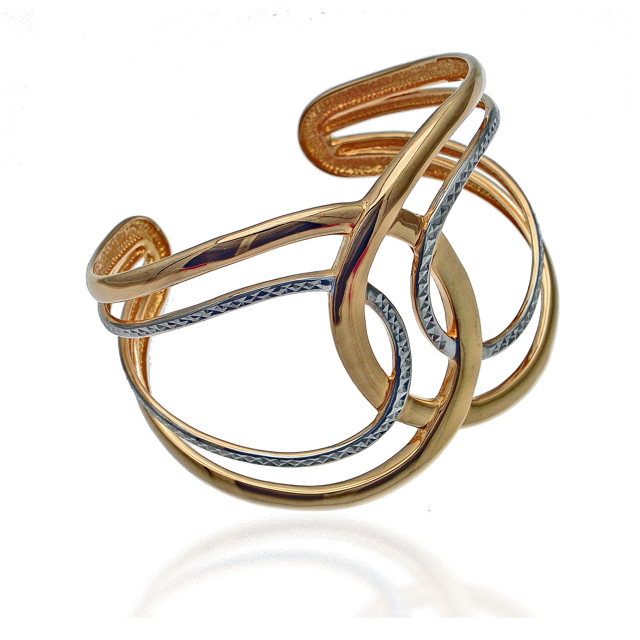 Silver and Gold Interlock Cuff Bracelet