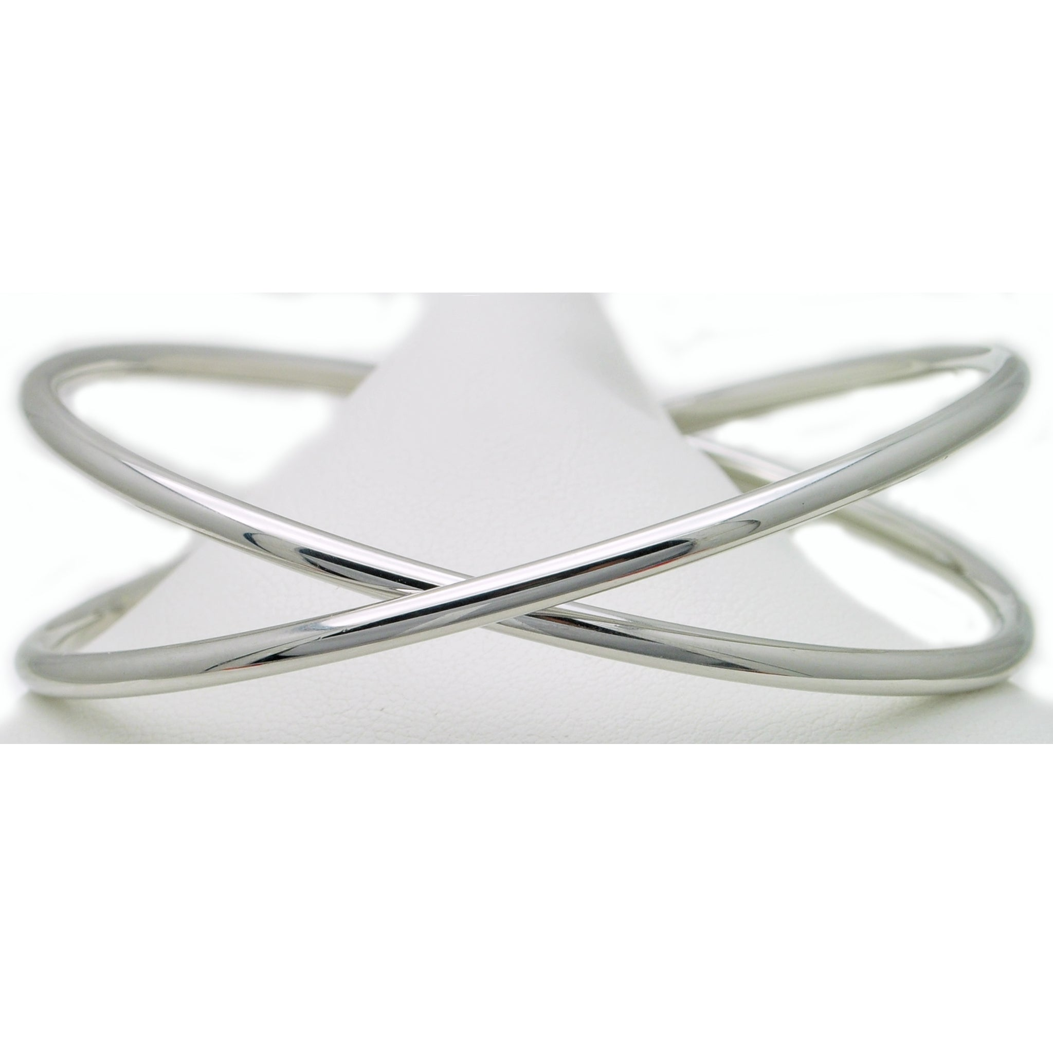 Silver Bracelets - Criss Cross Sterling Silver Bangle Bracelets