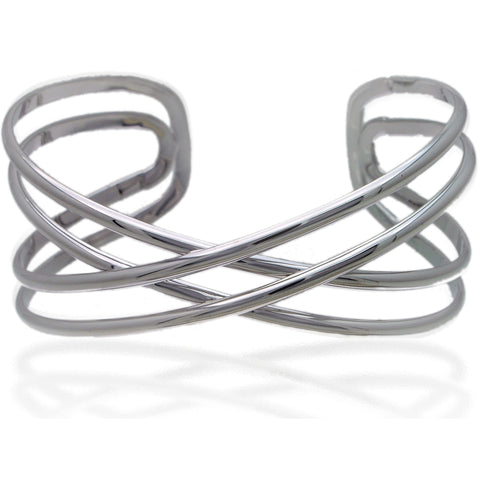Sterling Silver Double Criss Cross Bangle Bracelet