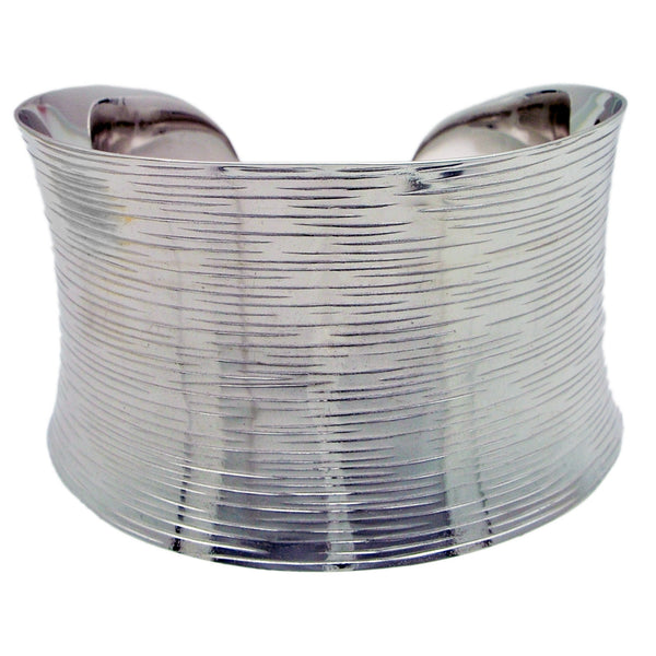 Wide Textured Sterling Silver Cuff Bracelet