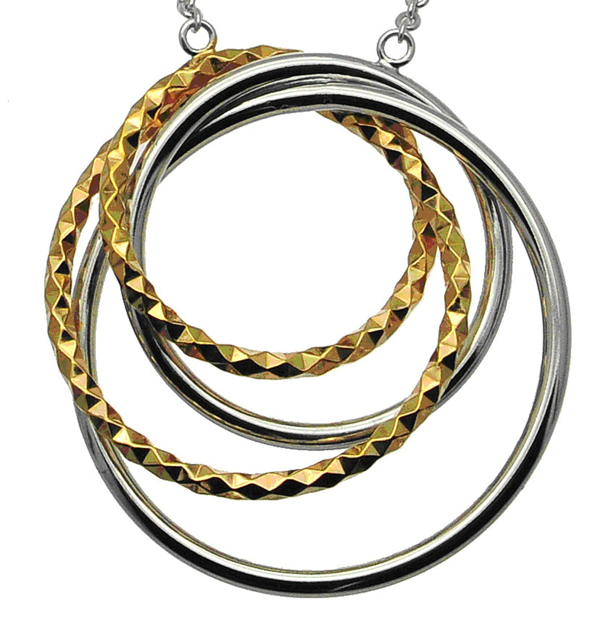 Interlocking Silver and Gold Quad Circle Pendant