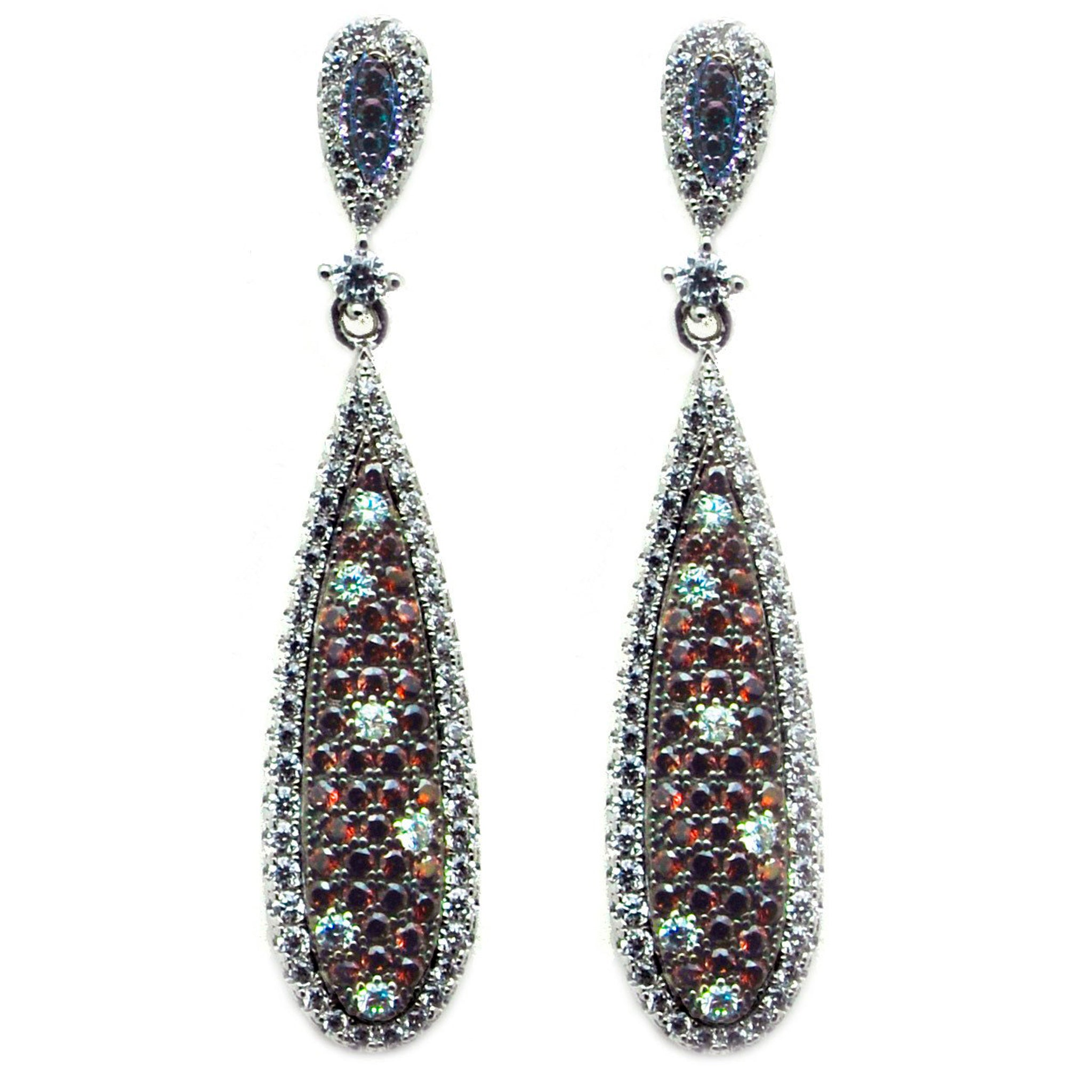 Elegant chocolate chip and white cubic zirconia drop earrings