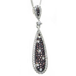 Elegant chocolate chip and white cubic zirconia drop pendant