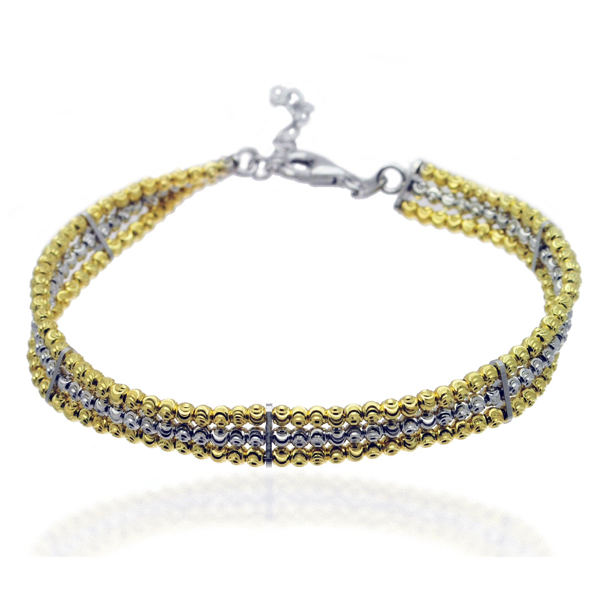 Silver and Gold Triple Row Bracelet