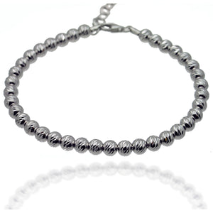 Sterling Silver Diamond Cut Beaded Bracelet