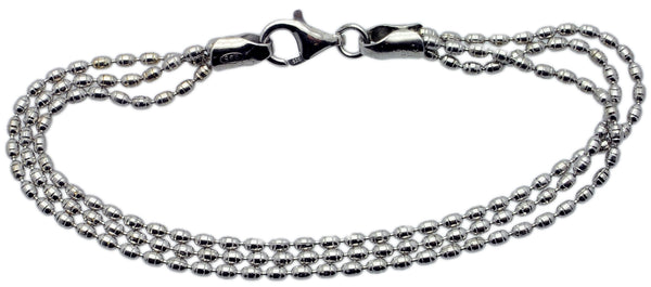 Dazzle Collection: 3 Strand Sterling Silver Bracelet