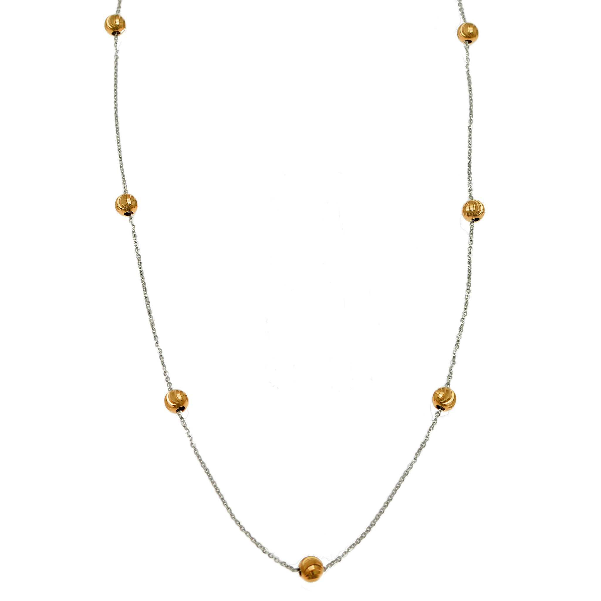 Shimmering Diamond Cut Silver and Gold Beaded Necklace