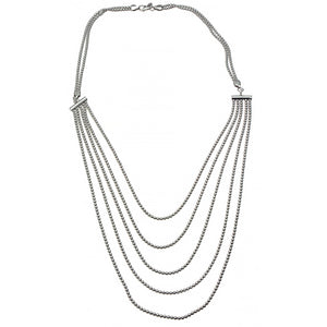 Beaded Sterling Silver Bib Necklace