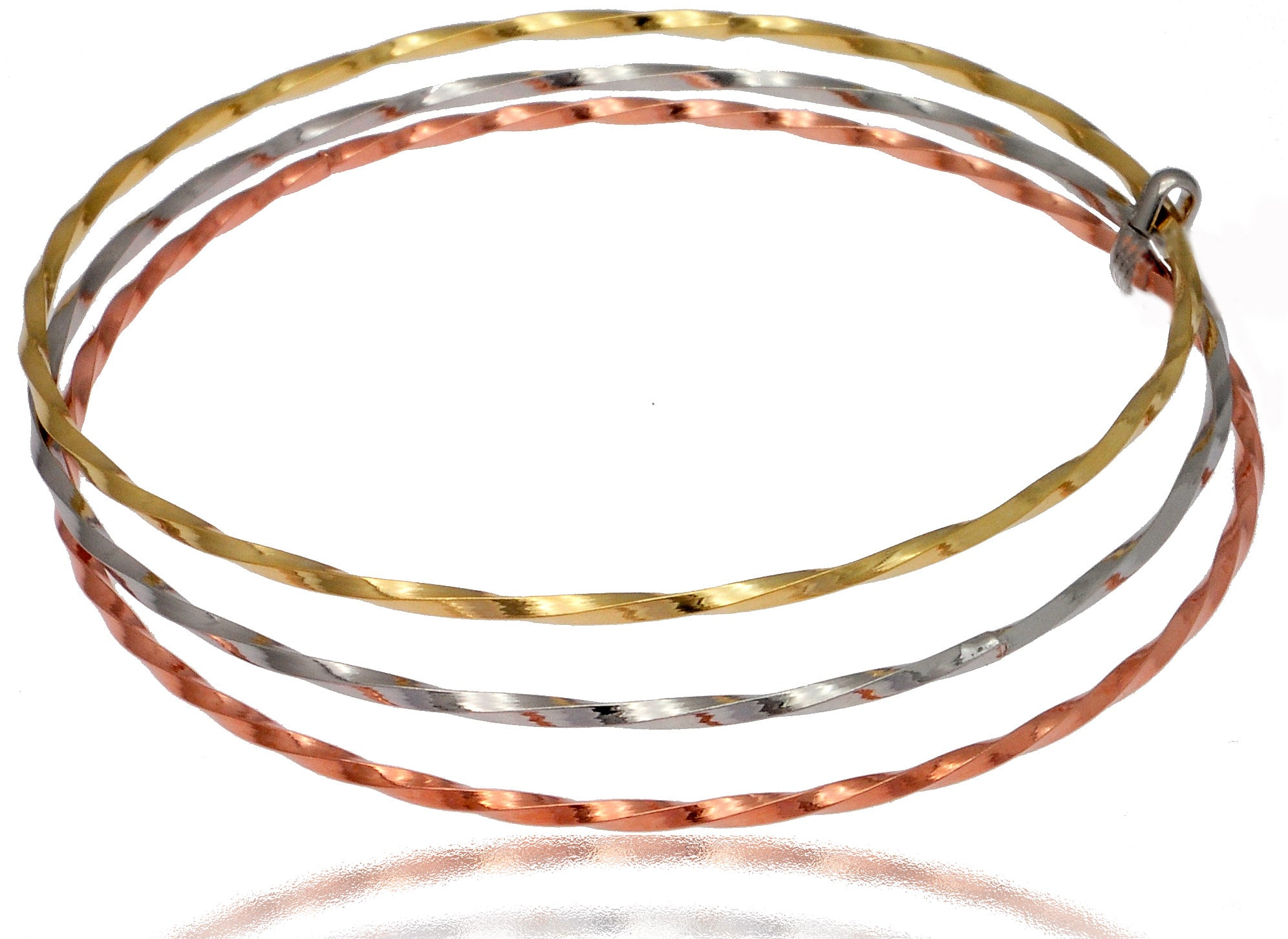Bangle Bracelet 14k yellow gold, sterling silver, 14k rose gold over sterling