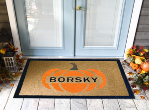 Thanksgiving Doormats | Fall Pumpkin Personalized DuraColor Inlay | Doormats Direct