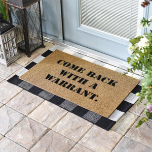 Funny Doormats | Come Back With A Warrant | Doormats Direct