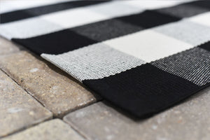 Accent Mat | Pre-Order - Available November - Black and White Buffalo Checked Accent Rug | Doormats Direct