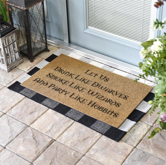 Funny Doormats | Let Us Drink Like Dwarves Smoke Like Wizards | Doormats Direct