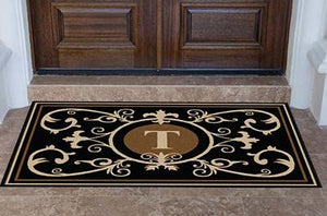 Estate | Edinburgh Estate Doormat  Monogrammed Black & Suede | Doormats Direct