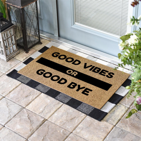 Funny Doormats | Good Vibes or Good Bye | Doormats Direct