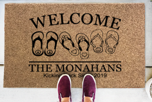 Personalized Doormats | Kicking Back Flip Flops Welcome | Doormats Direct