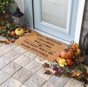 Halloween Doormats | Well Behaved Children Welcome, The Rest Will Be Made Into Pies | Doormats Direct