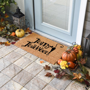 Halloween Doormats | Happy Halloween Black Cat | Doormats Direct