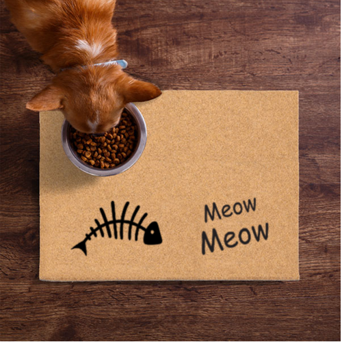 Pet Mats | Cat Fish Bones Meow Meow Non-Personalized | Doormats Direct
