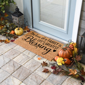 Thanksgiving Doormats | The Love Of A Family Is Life's Greatest Blessing | Doormats Direct