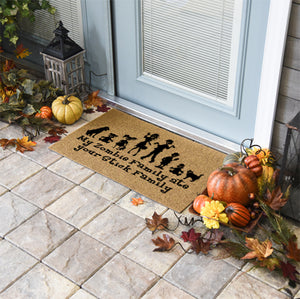 Halloween Doormats | My Zombie Family Ate Your Stick Family | Doormats Direct