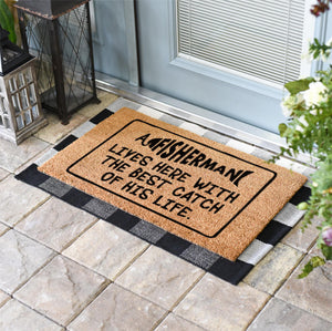 Funny Doormats | A Fisherman Lives Here With The Best Catch Of His Life | Doormats Direct