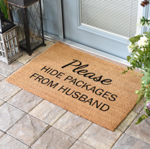 Christmas Doormats | Please Hide Packages From Husband | Doormats Direct