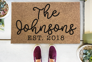 Personalized Doormats | Welcome/Est (Date) Personalize Script Last Name | Doormats Direct