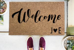 Personalized Doormats | Welcome - Heart/Script Initials | Doormats Direct