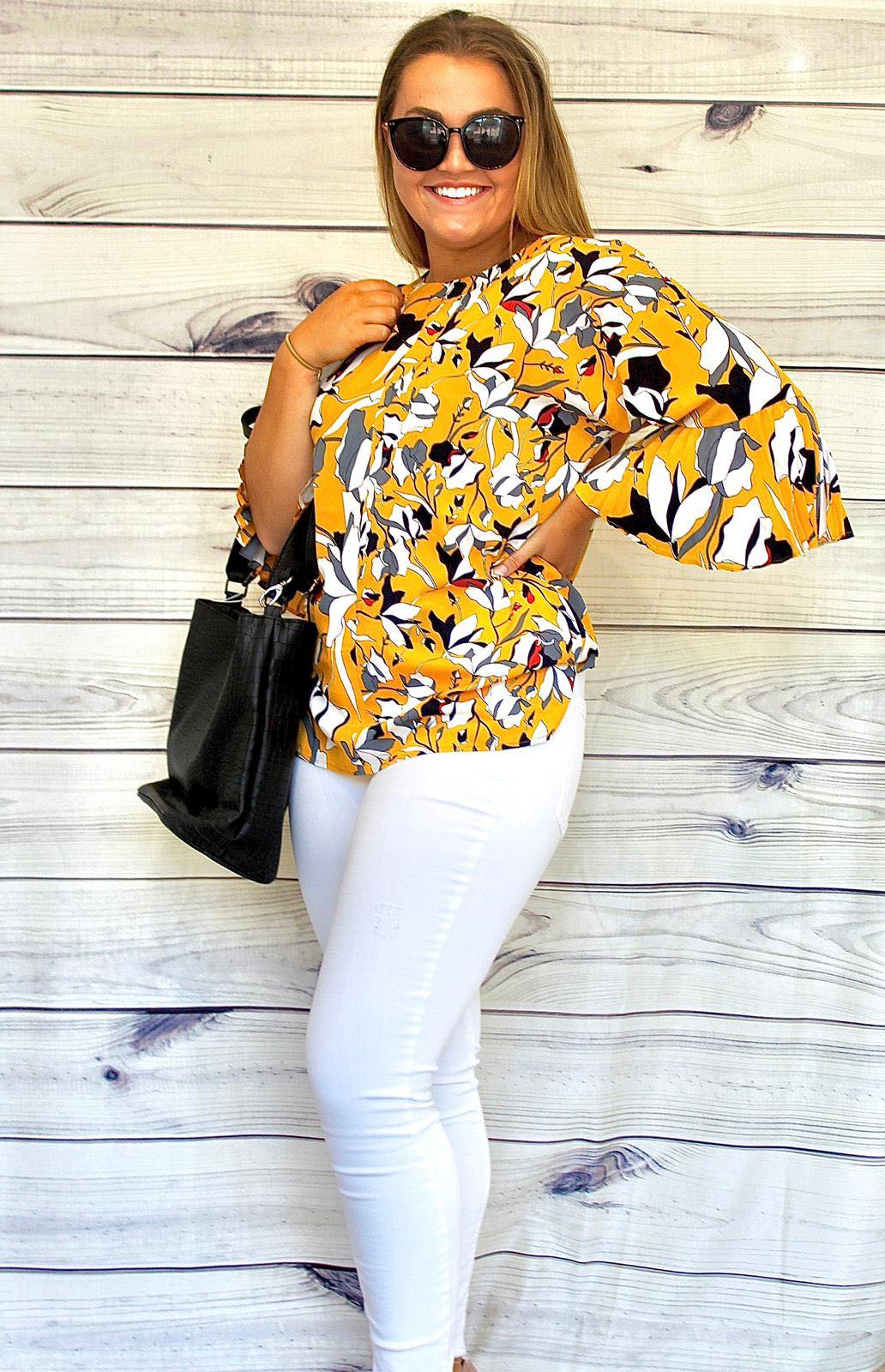 French Connection Aventine Yellow Print Blouse