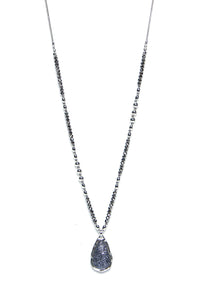 Envy Grey & Silver Pendant Long Necklace 194/N/G