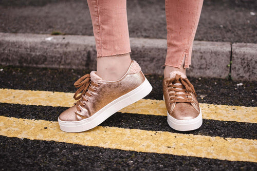 Ichi Clio Rose Gold & Shearling Platform Trainers