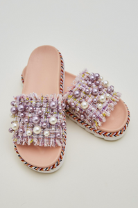Pink Pearl Tweed Sliders