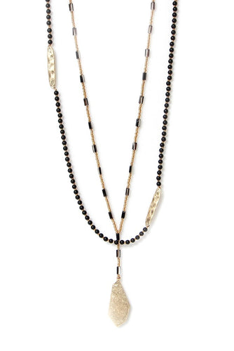 Envy Double Layer Black & Gold Long Necklace 63N/H