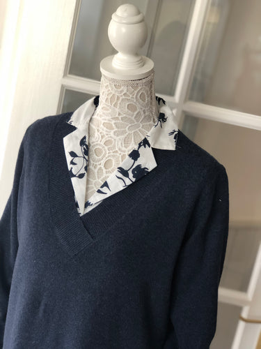 Ichi Navy Flower Print Shirt