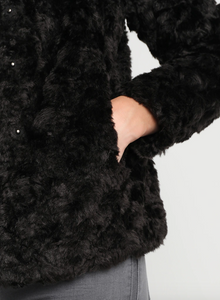 Saint Tropez Black Faux Fur Jacket