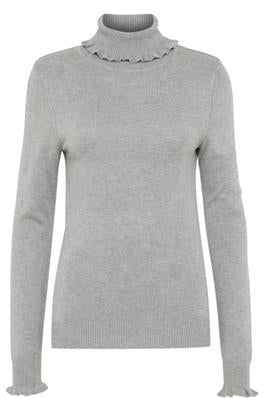 Ichi Mafa Grey Ruffle Polo Neck