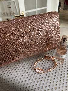 Rose Gold Clutch Bag with Chain