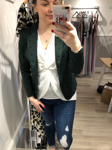 Ichi Kate Forest Green Blazer with Polka Dot