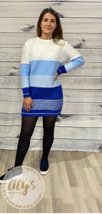 Blue Knitted Jumper Dress
