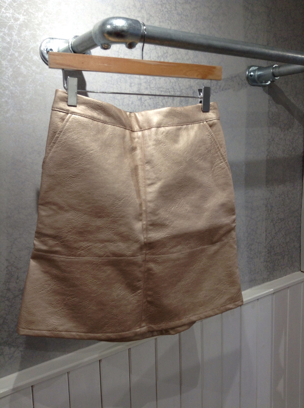 Only Rose Gold Leather Look Skirt