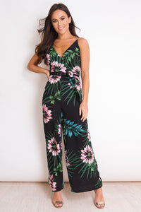 Ciara Floral Wide Leg Jumpsuit Black