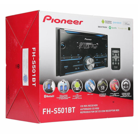 Wholesale-Pioneer FH-S501BT Double Din Bluetooth CD Receiver with Remote and Mic-Car Audio-Pio-FHS501BT-Electro Vision Inc